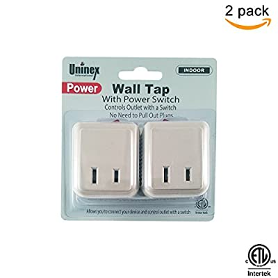 (2 Pack) Uninex ON/OFF Switch Wall Tap Outlet Power Adapter 2 prong Plug Without Unplugging Cords ETL