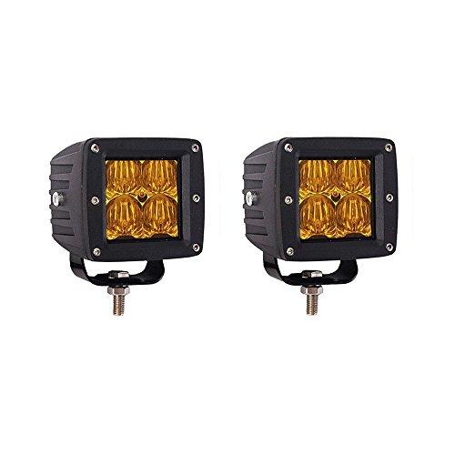 Glotech Fog Lights, 2X16W Yellow 5D Cree Flood Led Cube Light Drivng Lamp Offroad Light Bar Waterproof IP67 Offroad Light Bar For Jeep ATV Truck Snow,1 Year Warranty
