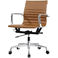 Meelano M348 Office Chair in Vegan Leather, Brown