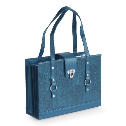 Texture Faux Leather File Organizer Tote -Teal color Photo #3
