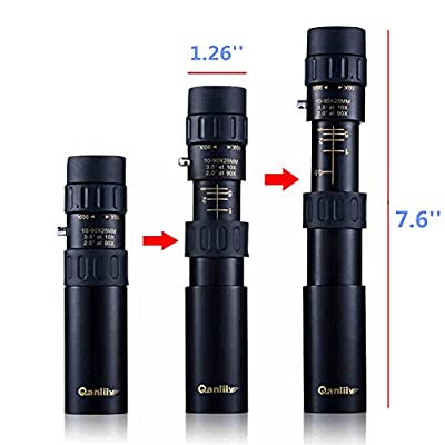 Luwint 10-90x25 Mini Pocket Monocular - Dual Focus Scalable To Stretch Zoom Metal Optical for Bird Watching Golf, Black