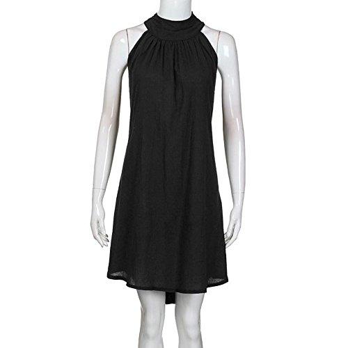 Robes Irrgulier Fte Col Robe Court Noir Casual Femmes Manches de Unie Plisse Plage de Couleur sans t Robe Rond Soire ZF5ATwq
