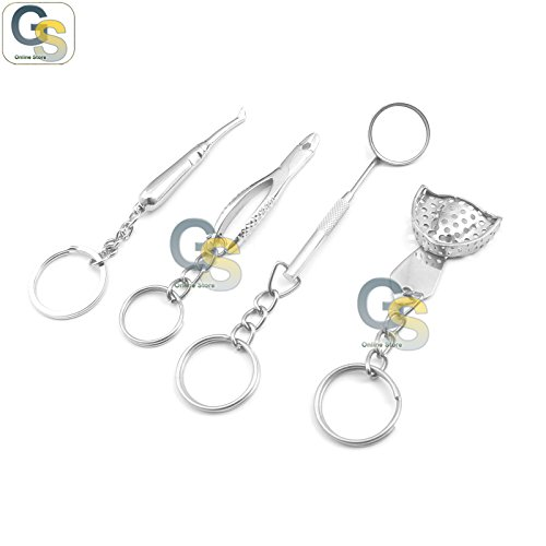 Price comparison product image G.S 4 PIECES SILVER ORTHODONTIC PERSONALIZED DECORATIVE MINI KEY CHAIN SERIES BEST QUALITY