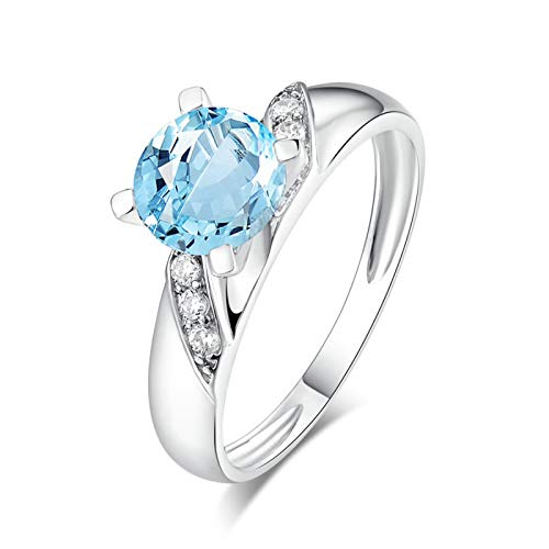 EoCot Custom Size Silver Plated Ring for Women Round Shape Blue Topaz White Gold Round Wedding Band Anniversary Ring Size 10