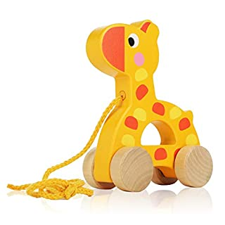 Adorable Giraffe Wooden Animal Pull Toy - Solid Wood Educational Baby Toy for Toddler Boys and Girls Age 18 Months, and Up - Classic Developmental Pull Toy