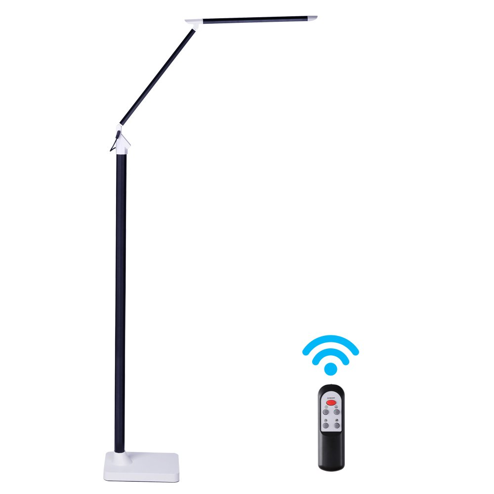 KEDSUM Dimmable Eye-Care LED Floor Lamp with Remote Control Switch [12W, 5 Lighting Modes,5 Level Dimmers,Touch-Sensitive Panel,Piano Black ] by KEDSUM