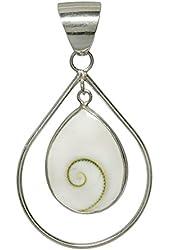 Bali Shell Eye of Shiva Pendant Double Teardrop Sterling Silver Balinese