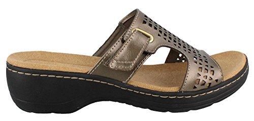 Clarks Womens Hayla Samoa Wedge Sandal Pewter 77x88b1l