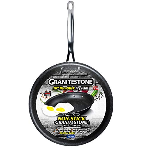 GRANITESTONE 2144 Nonstick, No-warp, Mineral-enforced Frying Pans with Stay-Cool Handles, Dishwasher-safe, PFOA-Free As…