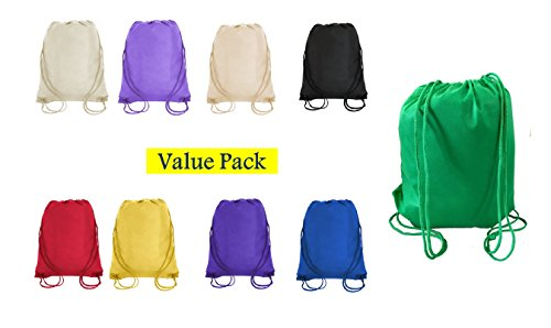 SUPER VALUE PACK- Bright Color Drawstring Bags, Small Size Junior Cinch Packs, Non-Woven Backpack, Promotional Bags (Mix Color-100 Pack) by Georgiabags