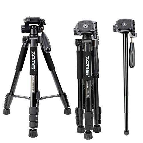ZOMEI Q222 58″ Monopod Tripod with 3-Way Swivel Pan Head and Carrying Bag for Sony Nikon Canon Suitable for Live Photo Video