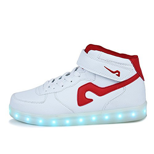 Scarpe A Led Annabelz High Top Usb Ricarica Light Up Scarpe Uomo Donna Moda Sneakers Luminose Bianco / Rosso