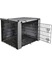 "yotache Dog Crate Cover for 36"" Medium Double Door Wire Dog Cage, Lightweight 600D Polyester Indoor/Outdoor Durable Waterproof & Windproof Pet Kennel Covers, Gray"