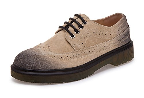 Honeystore Unisex Retro British Brogue shoelace Shoes Microsuede Loafer Flats Khaki pTKEmo