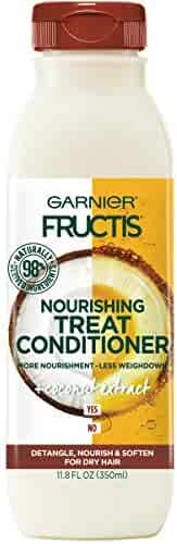 Garnier Fructis Nourishing Treat Conditioner, 98 Percent Naturally Derived Ingredients, Coconut, Nourish and Soften for Dry Hair, 11.8 fl. oz.