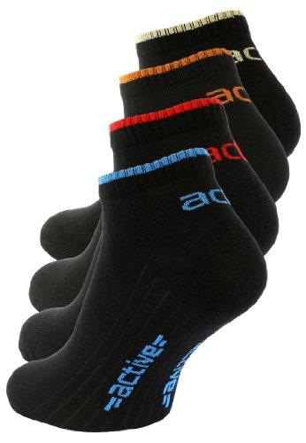 8 Paar schwarze Herren Active Sneaker Socken, mit