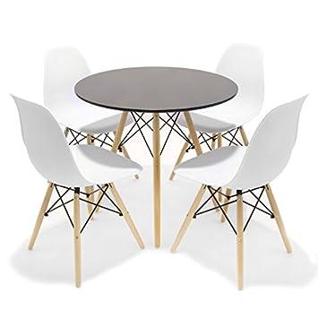 CITY HOME Conjunto de Comedor/Cocina Inspirado en el diseño Tower Eames - Redondo - Mesa Negra Sillas Blancas