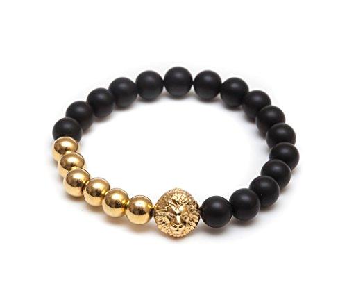 ZENGER Jewelry Mens Lion Head Beaded Stretch Bracelet - 8mm Black Matte Onyx Semi-Precious Stone, Elastic, 18t Yellow - Onyx Bead Bracelet Gold