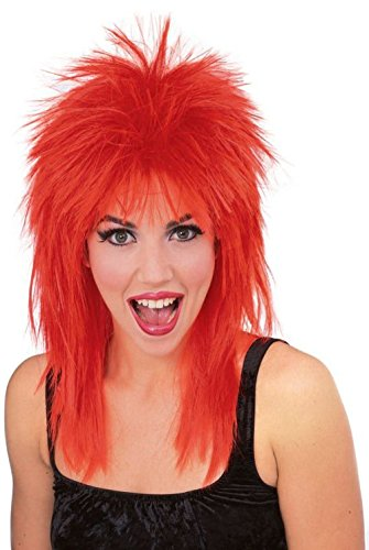 (50721/67 Red Super Star Punk Rock Rocker 80's Wig)