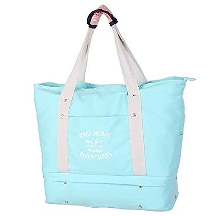 eDealMax lienzo Exterior Con cremallera bolso de ropa de embalaje de equipaje de viaje gimnasia Bolsa