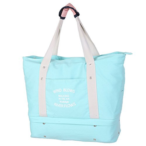 eDealMax Toile extrieure Sac  Main Vtements Zippered bagages Emballage Gym Voyage Sac de Rangement Bleu Clair