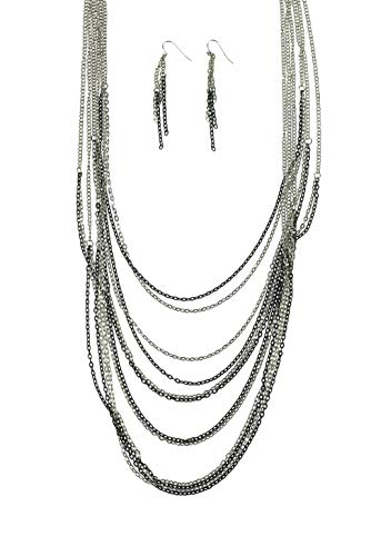 LookLove Women's Jewelry Multiple Chain Necklace and Earring Set by LookLove