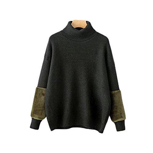 Pull YAANCUN Oversize Femme Patchwork Haut Longues Noir Col Pull Sweater Longue Chaud Manches Hiver Tunique Maille Epais rURrISB
