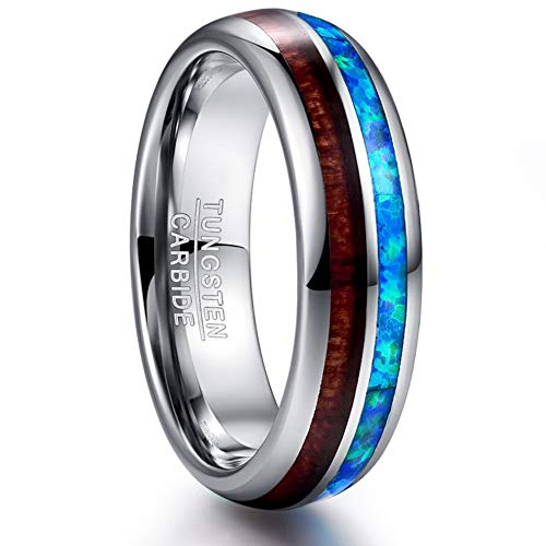 VAKKI 6mm Hawaiian Koa Wood and Blue Opal Inlay Tungsten Rings Domed Wedding Bands Size 7.5 ()