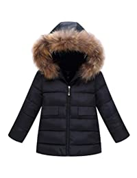 ainr Little Girl New Solid Color Slim Fit Pocket Faux Fur Hooded Puffer Cotton Jacket