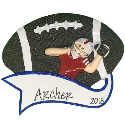 Football Toss Personalized Ornament - (Unique Christmas Tree Ornament - Classic Decor for A Holiday Party - Custom Decorations for Family Kids Baby Military Sports Or -