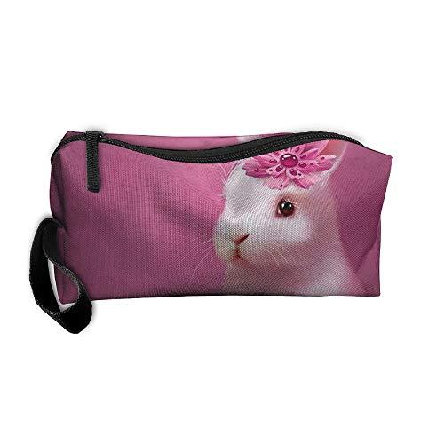 Jessent Coin Pouch Pink Rabbits Pen Holder Clutch Wristlet Wallets Purse Portable Storage Case Cosmetic Bags Zipper ()