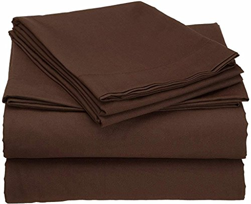 - 400 Thread Count 4 Piece Set Queen Size Sheets Set Chocolate Long Staple Combed Pure Natural 100% Cotton Sheet Set deep Pocket fits Upto 15 inch Soft & Silky Sateen Weave Bedding Set