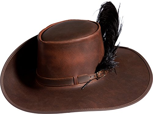 Overland Sheepskin Co. Leather Cavalier Hat, Brown, Size Large (7.38) by Overland Sheepskin Co