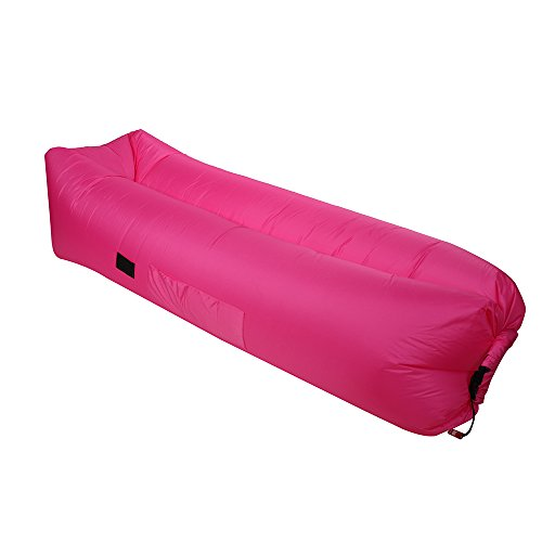 Inflatable Air Lounger Portable Self Inflating Sofa Chair, Waterproof Ripstop Lounge for Chillout Camping and Hiking, Beach Pools Travel, Outdoor Indoor Lazy Bag , Inflate Anywhere (Rose (Chase Lounge)