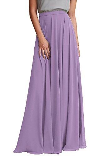 Maxi Pale Waist Chiffon Long Woman Honey Purple High Skirt Bridesmaid Dresses Qiao wnH8fpq6a