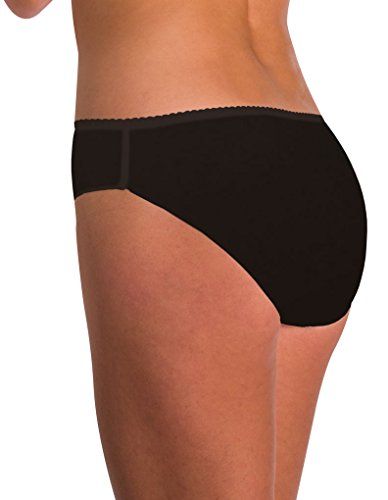 Naomi & Nicole A143 Women's Edgies Black Laser Cut Hipster A143 Medium (Brand Size 6) Nicole Hipster Panties