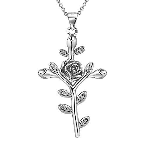 Besilver Rose Flower Cross Necklace 925 Sterling Silver Religious Faith Cross Pendant Women Men Christian Jewelry for Grandma Mom Dad Gift FP0043W