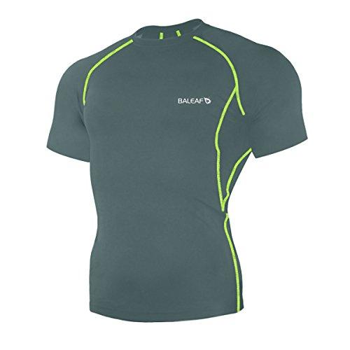 26d4a7243e70 Baleaf Men s Short Sleeve Running Fitness Workout Compression Base Layer  Shirt Color Grey Size M