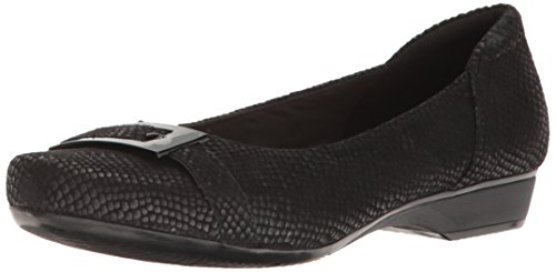 CLARKS Women's Blanche West Flat, Black Snake Print Leather, 6 M (Black Snake Print Leather)