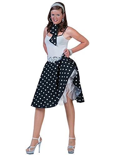 [Womens 2 Piece Poodle Skirt Costume Set with Black White -line Skirt and Scarf] (Poodle Skirt Set)