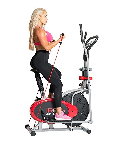Elliptical 4-in-1 Cross Trainer Exercise Bike, Home Gym Equipment, Compact Design, Pulse Sensors, Hand Weights, Resistance Bands + BONUS Sports Water Bottle - ON SALE!