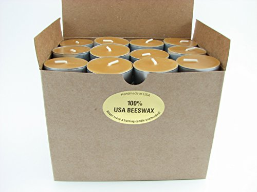 100% USA Beeswax Tea Light Candles (Box of 144) by Beeswax Candle Works, Inc