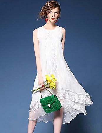 b6166ff7179b0 ZLL Women s Going out Beach Street chic Loose Swing Dress Patchwork Mesh  Round Neck Asymmetrical Sleeveless Silk White Summer