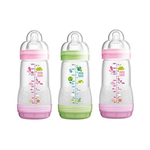 MAM Anti Colic Self-Sterilising Bottle 260ml, Pink & Green 3 per pack - Pack of 2