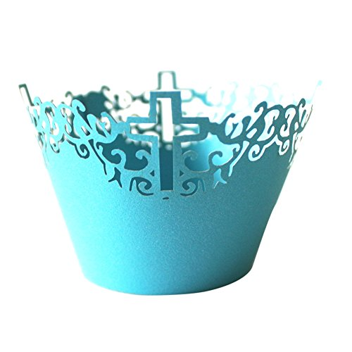 MagiDeal 50 Cupcake Paper Cups Lace Muffin Cake Wrapper Cross Wedding Multi-color - Sky Blue, 5 cm 8 cm