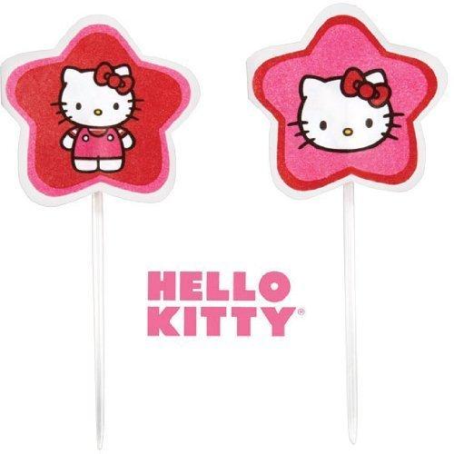 Wilton Sanrio Hello Kitty Fun Pix Red Pink Cupcakes Celebration Decoration 24 Ct