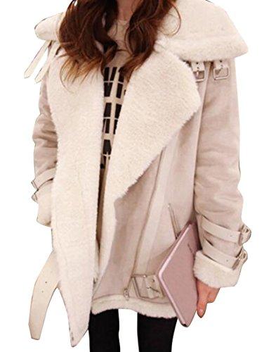 - XQS Women Zipper Faux Suede Fur Lined Moto Biker Jacket Coat Outwear 2 L