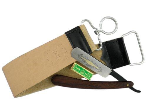 Rasiermesser-Set mit Holz-Griffschalen und Schwarzem Klingenrücken 3-Teilig