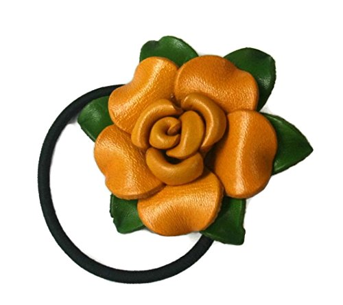Bella Pazzo Handmade Yellow Color Genuine Leather Rose Flower Ponytail Holder and Hair Ties for Women and Girls ()