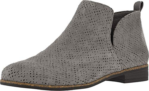 Dr. Scholl's Shoes Women's Rate Ankle Boot, Dark Shadow Grey Perforated Microfiber Suede, 9.5 W US (Ladies Heel Boots)